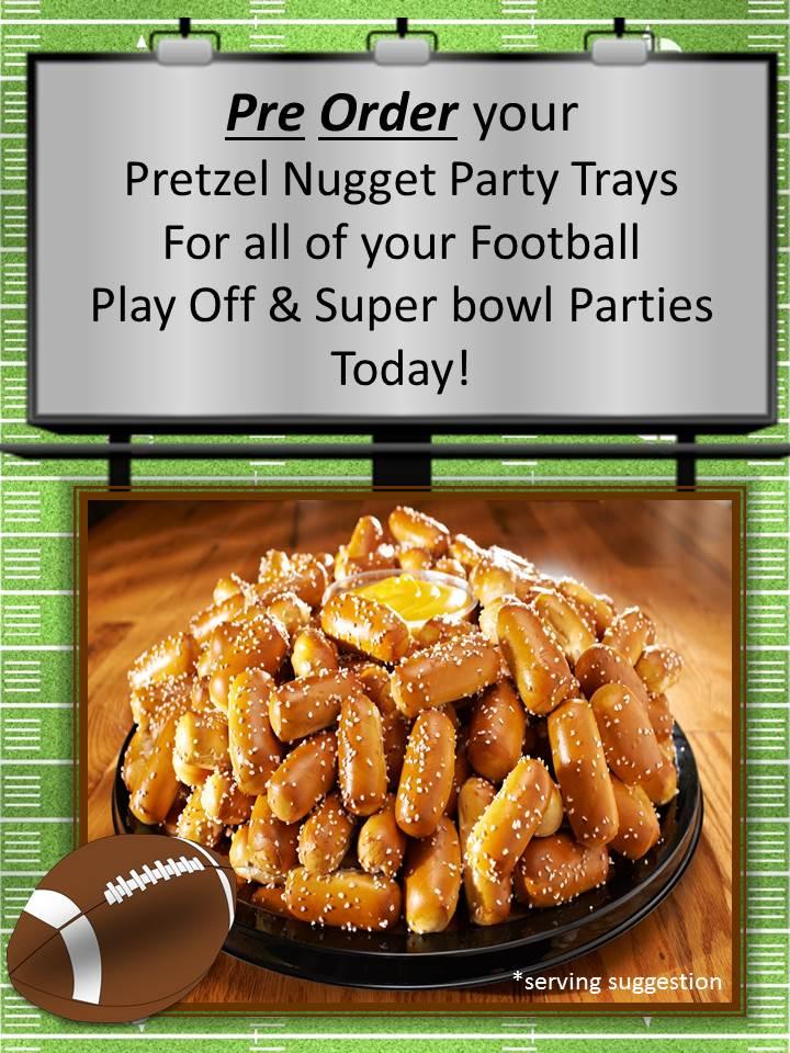 Pretzel Nugget Football Party Tray sign