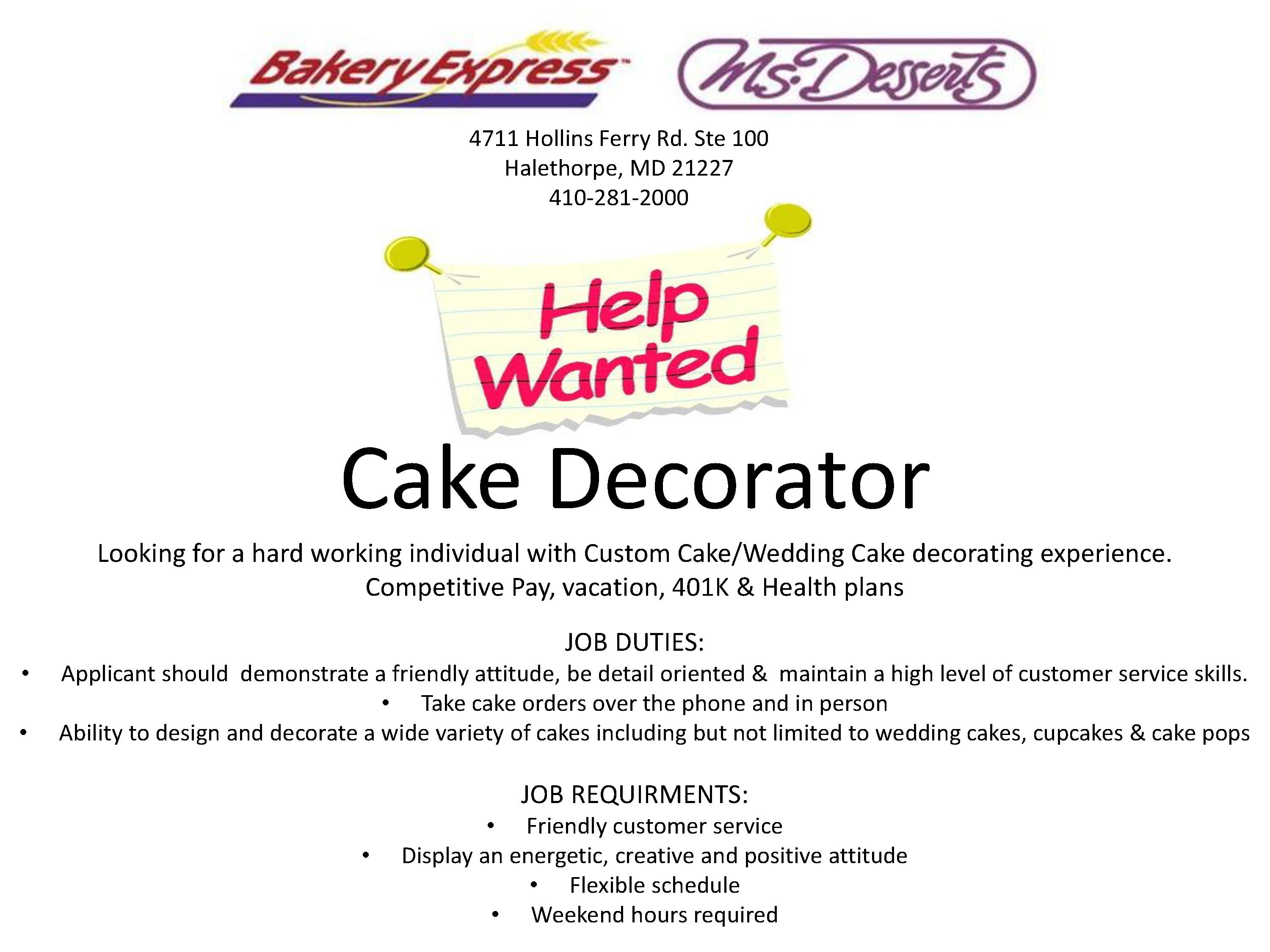 Cake decorator job description flisol home help wanted cake decorator 2017 junglespirit Images